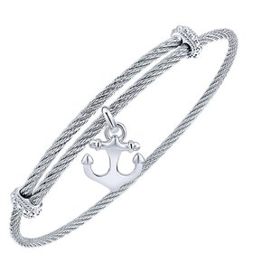 BG3588MXJJJ stainless steel and silver charm bracelet
