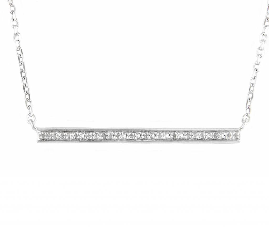 N0934SL  silver and diamond bar necklace