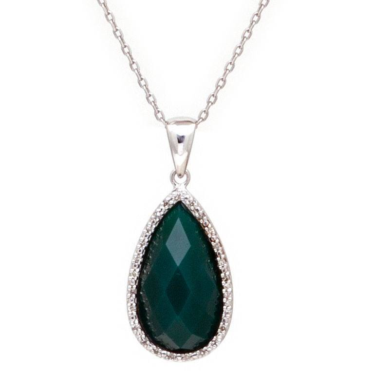 Lau N0352GG  green agate pear shape drop necklace