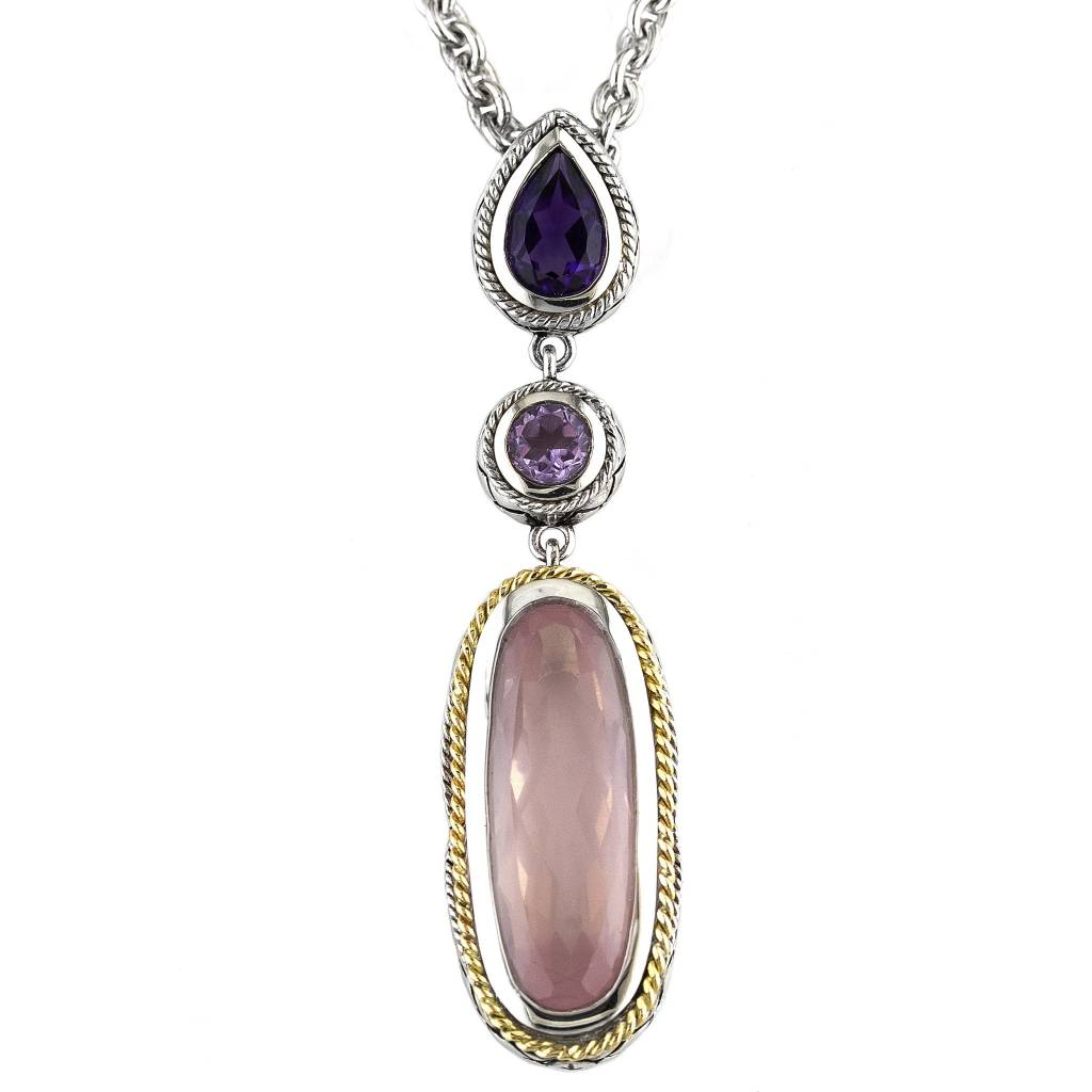 Andrea Candela ACN151 Pink Amethyst, Purple Amethyst and Rose Quartz Necklace
