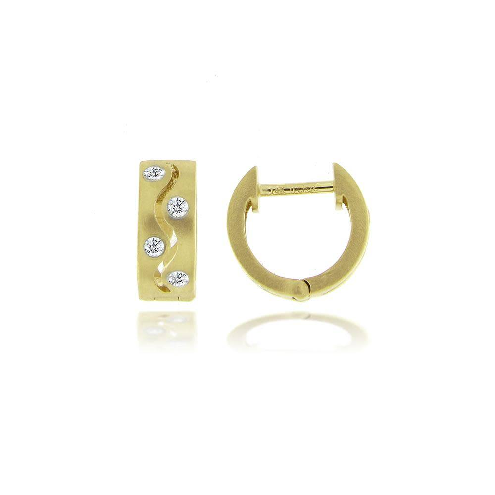 Meira T Textured Gold & Diamond Huggie Earrings