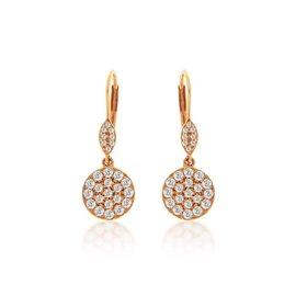 Rose Gold Diamond Cluster Drop Earrings