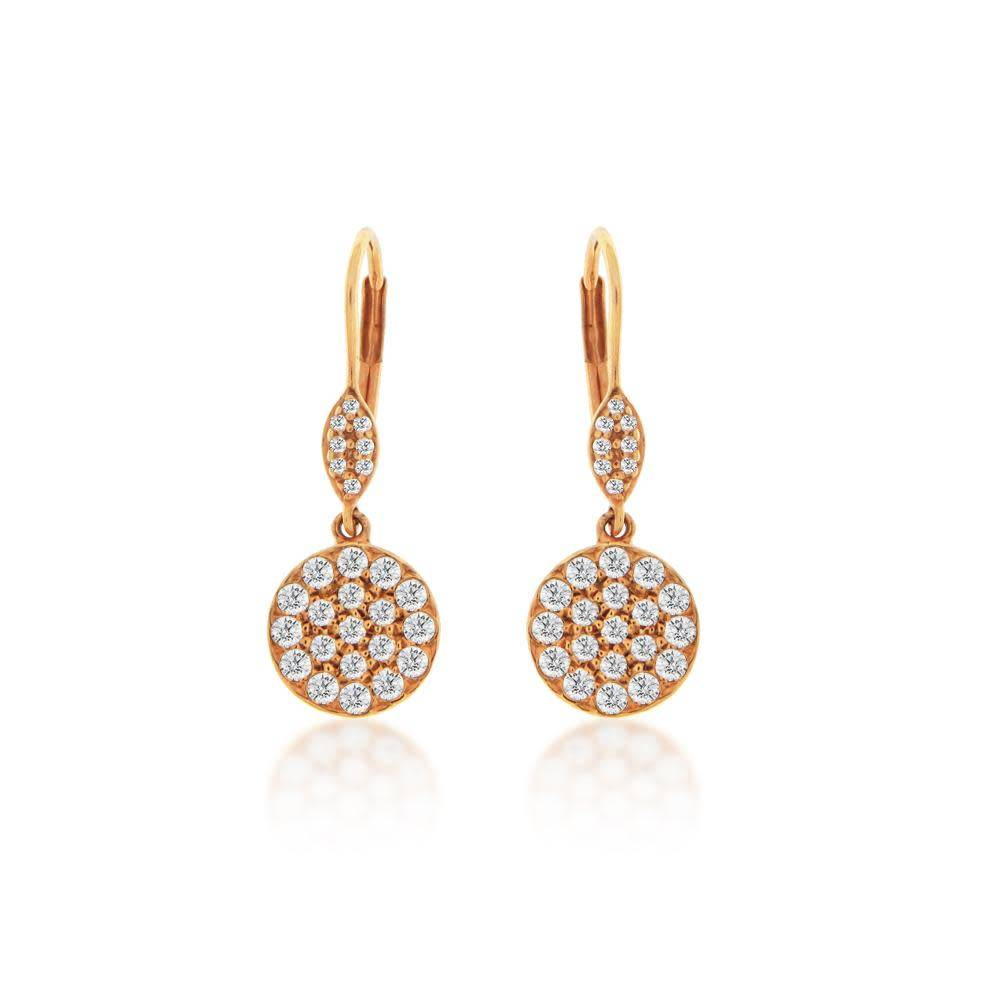 Meira T Rose Gold Diamond Cluster Drop Earrings