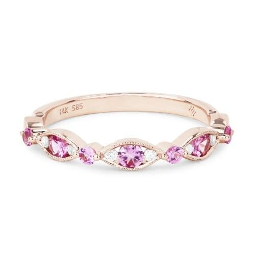 R1056PSP Pink Sapphire and Diamond Band