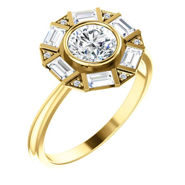 Stuller Art Deco Baguette and Round Diamond Halo Setting