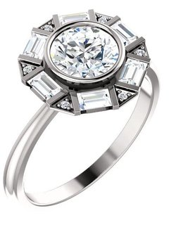 Art Deco Baguette and Round Diamond Halo Setting