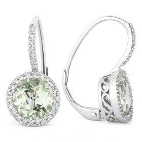 E1059 Green Amethyst Diamond Halo Earrings