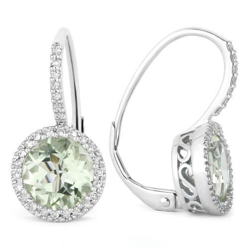 E1059 Green Amethyst Diamond Halo Earrings