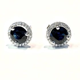 Blue Sapphire & Diamond Halo Earrings