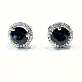 Blue Sapphire & Diamond Halo Earrings