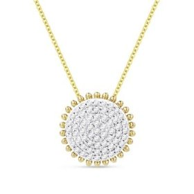N1119Y  14kt yellow gold diamond cluster circle pendant necklace