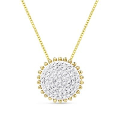 Madison L N1119Y  14kt yellow gold diamond cluster circle pendant necklace