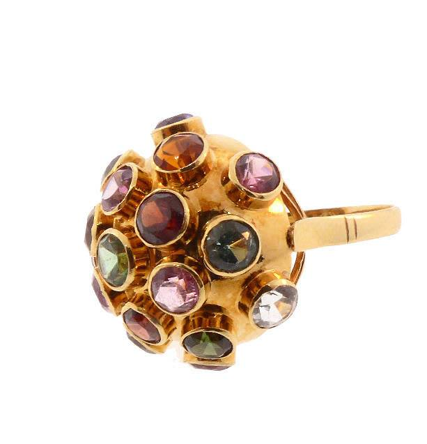 "18kt yellow gold Vintage ""Sputnik"" Ring"