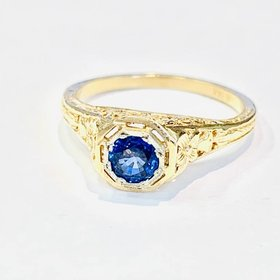 4.5mm cornflower sapphire yellow gold filigree ring