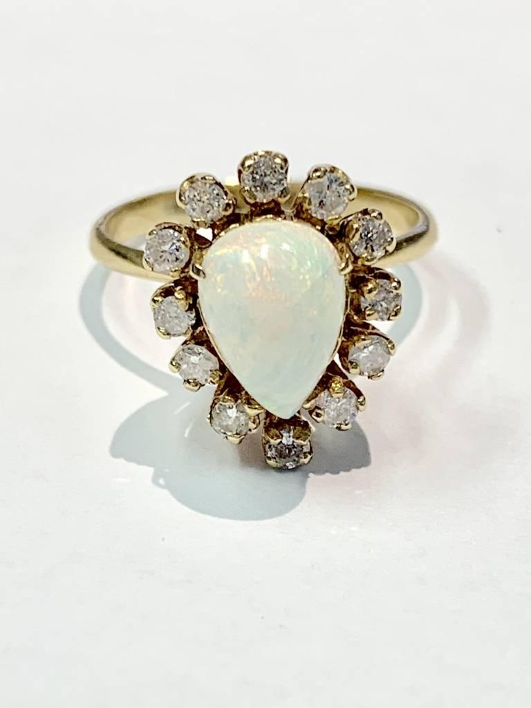 Freedman Pear Shape Fiery Opal Ring Surrounded by Diamonds