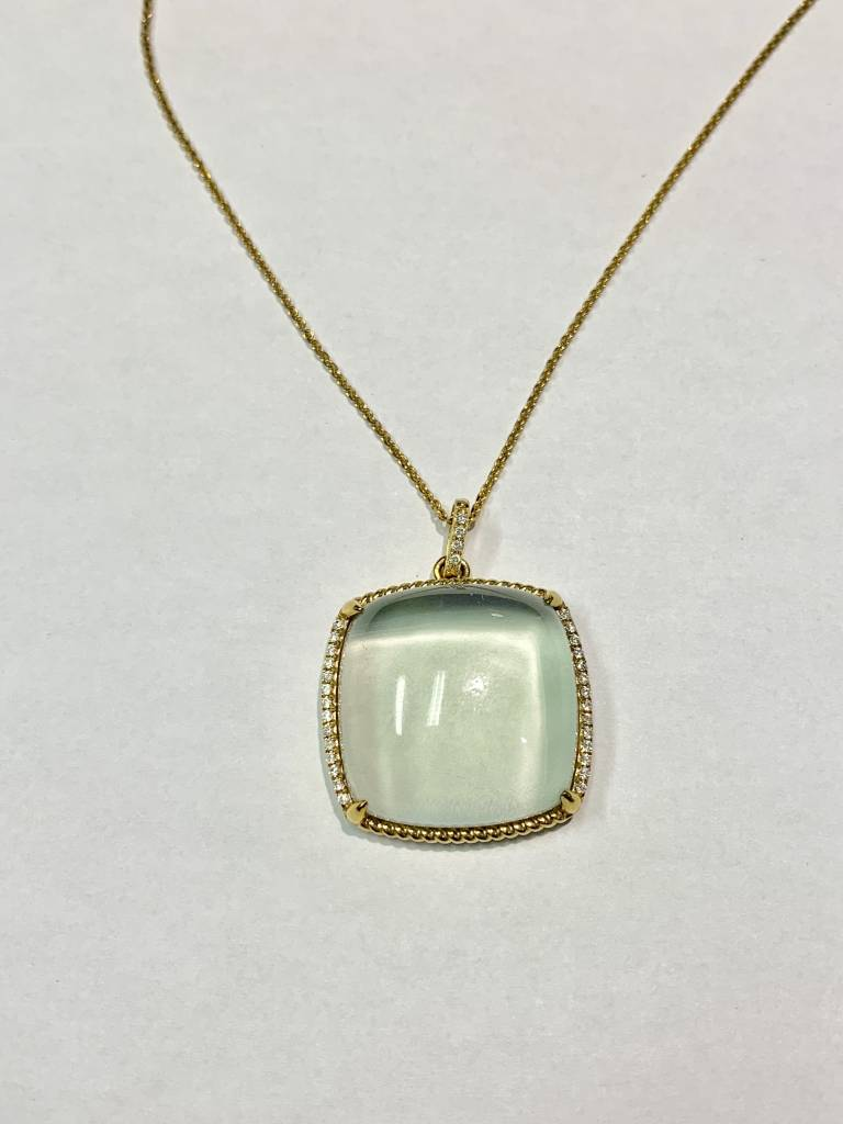 N27838Y Green Amethyst and Diamond Pendant Necklace Necklace