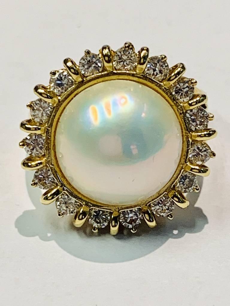 Freedman Mabe Pearl and Diamond Estate Ring