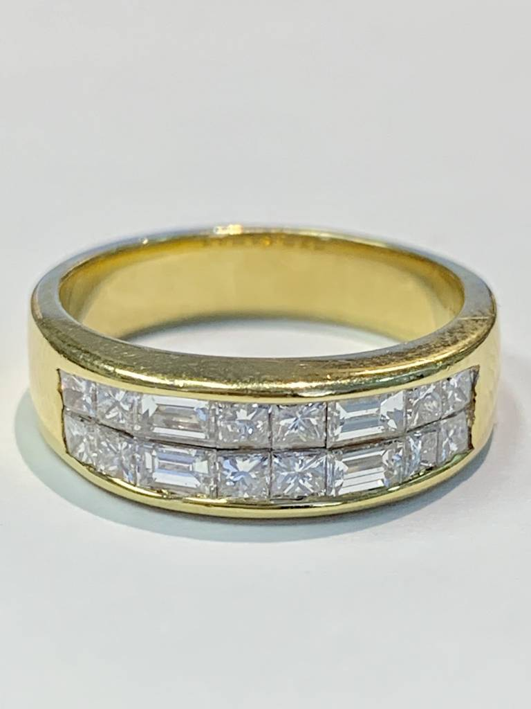 18kt yellow gold 2 row princess and baguette diamond band