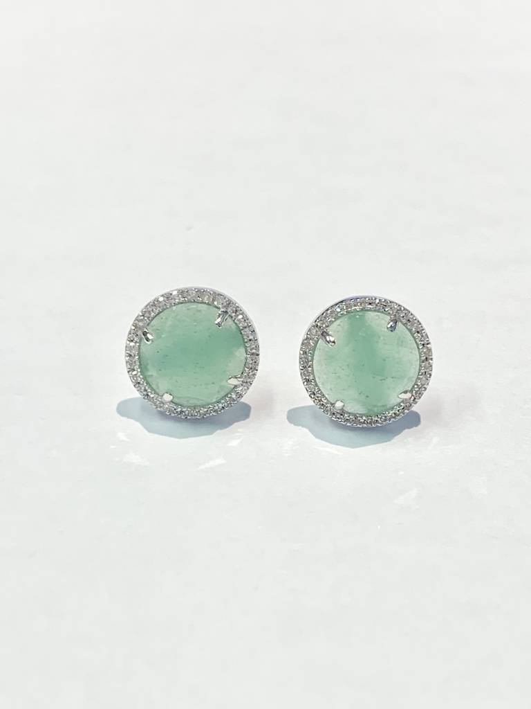 E193155 Green agate and diamond halo earrings