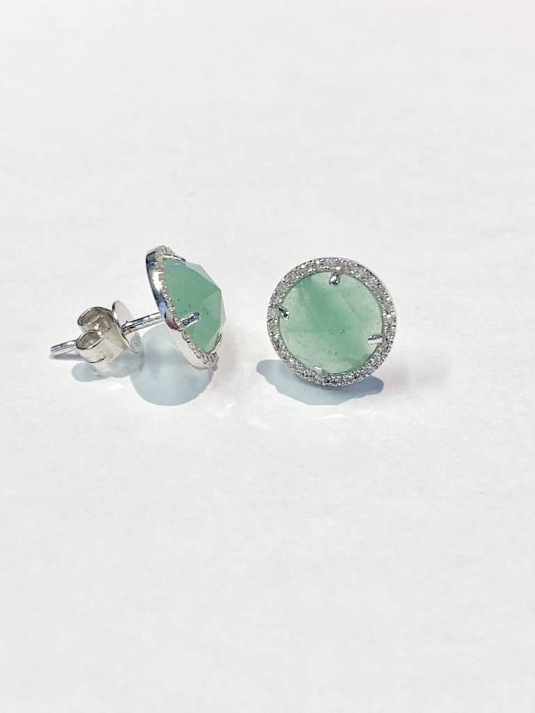 E193155 Green agate and diamond halo earrings