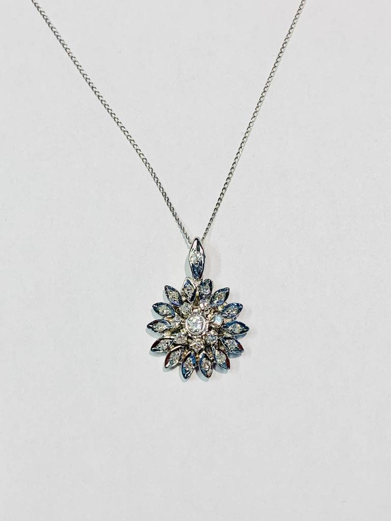 Vintage Diamond Cluster Pendant Necklace 1/3 carat