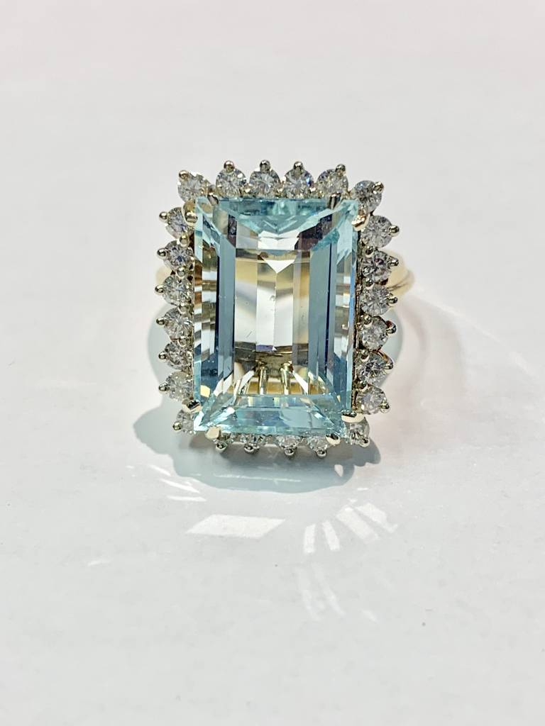 20 Carat Aquamarine & Diamond Cocktail Ring