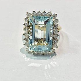 20 Carat Aquamarine & Diamond Cocktail Ring