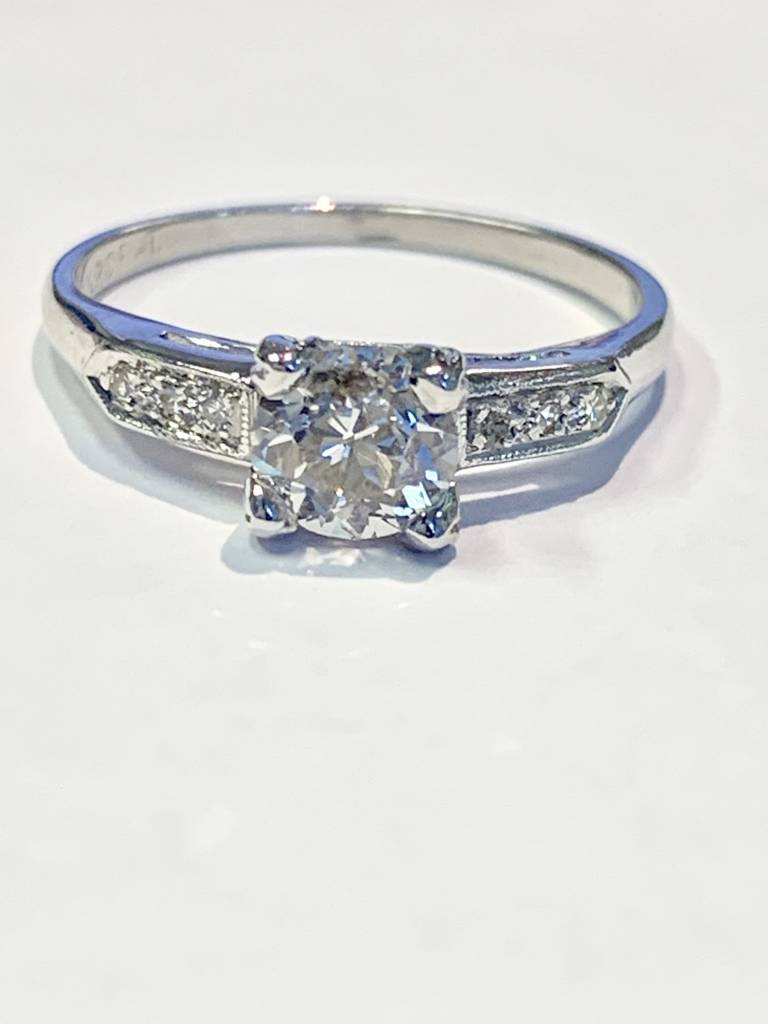 0.70 carat platinum European cut diamond engagement ring