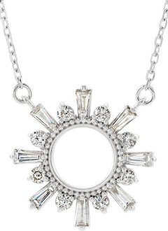 Baguette & Round 1/2 Carat Diamond Circle Necklace