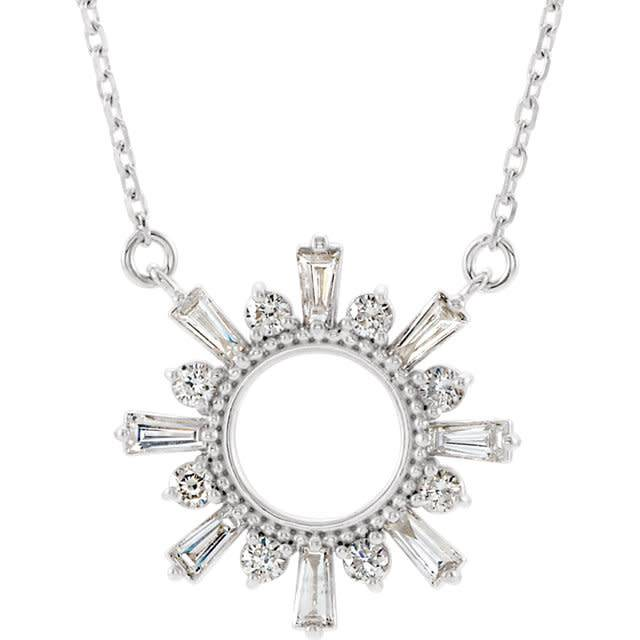 Baguette & Round 1/2 Carat Diamond Circle Necklace