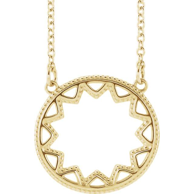 14kt Gold Milgrain Sun Necklace