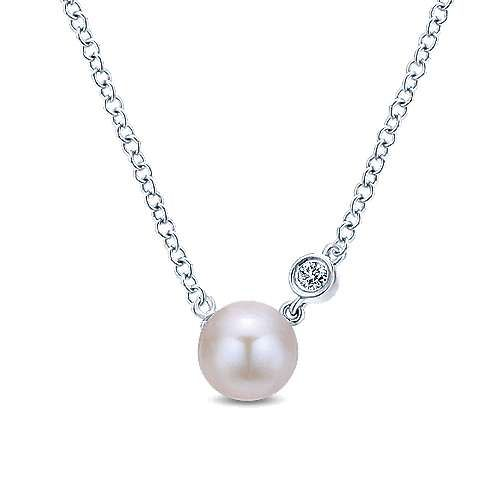 Silver Pearl & Diamond Necklace