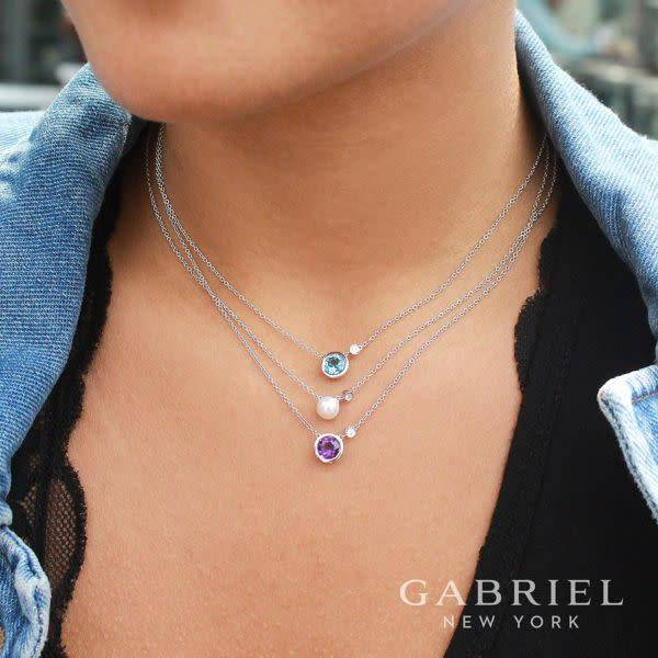 Gabriel & Co Silver Pearl & Diamond Necklace