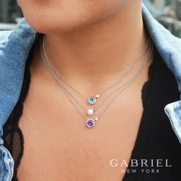 Gabriel & Co Silver Pearl & Diamond Necklace