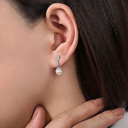 Gabriel & Co EG9902 Diamond & Pearl Drop Earrings