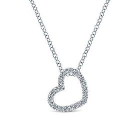 14kt White Gold Pave Diamond Open Heart Necklace