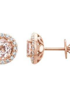 14kt rose gold morganite & diamond halo earrings