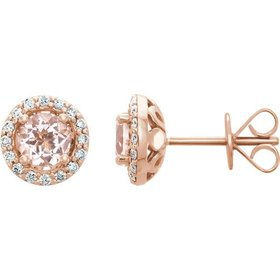 14kt rose gold morganite & diamond halo earrings