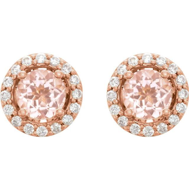 Stuller 14kt rose gold morganite & diamond halo earrings