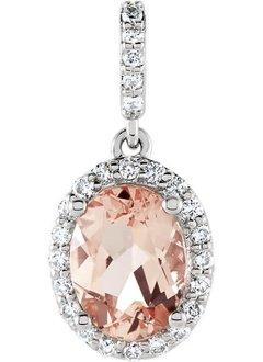 Morganite & Diamond Halo Pendant with Diamond Bale