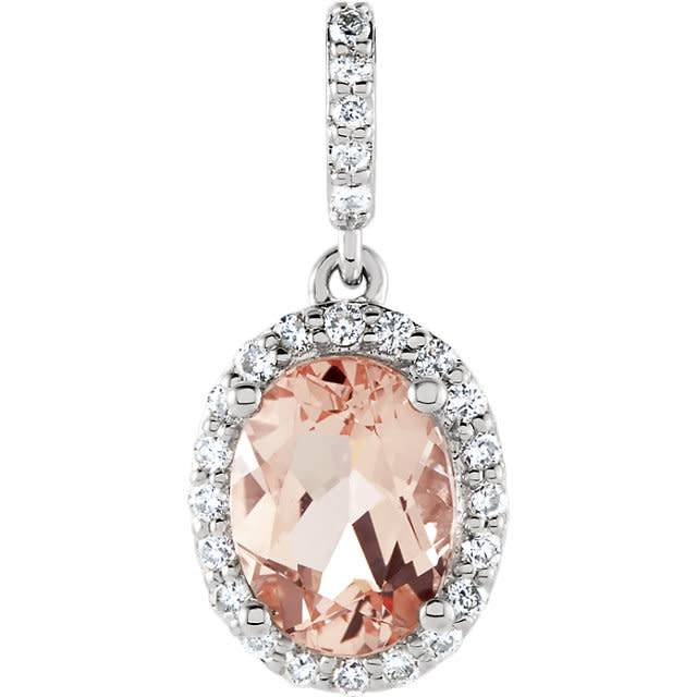 Stuller Morganite & Diamond Halo Pendant with Diamond Bale