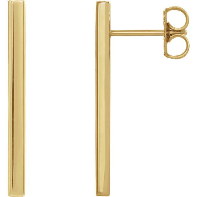 Stuller 1 inch 14kt gold bar stud earrings