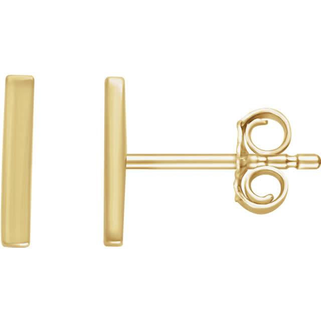 1/3 inch Vertical Bar Gold Earrings