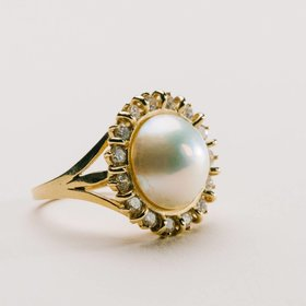 Mabe Pearl and Diamond Estate Ring