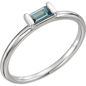 London Blue Topaz Rectangular Stacking Ring