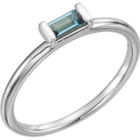 London Blue Topaz Rectangular Stacking Ring