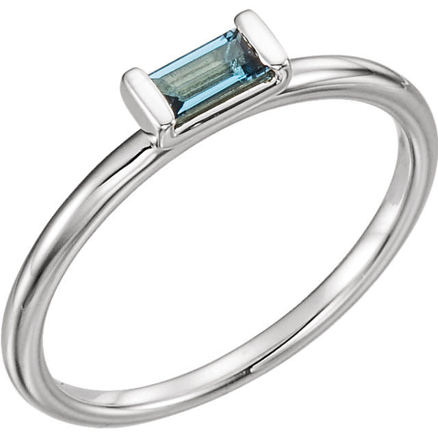 Stuller London Blue Topaz Rectangular Stacking Ring