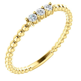 Beaded  3 Diamond Stackable Band