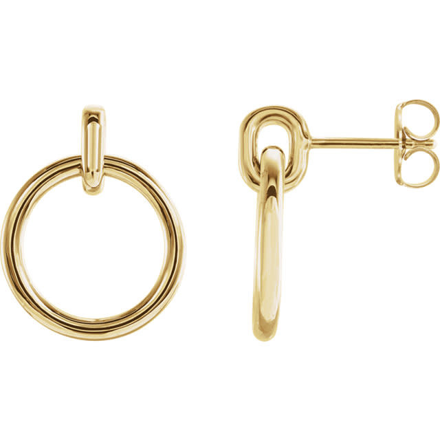 14kt yellow gold circle dangle earrings