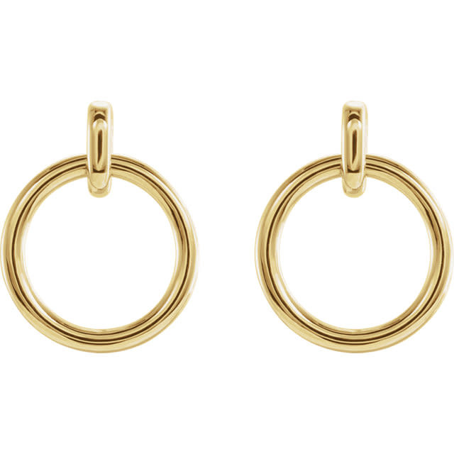 Stuller 14kt yellow gold circle dangle earrings